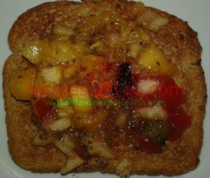 mixed fruit marmalade on wheat toast