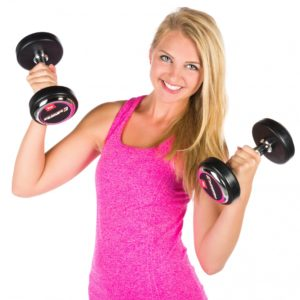 Light Exercise - blonde woman in pink tank top lifting free weights