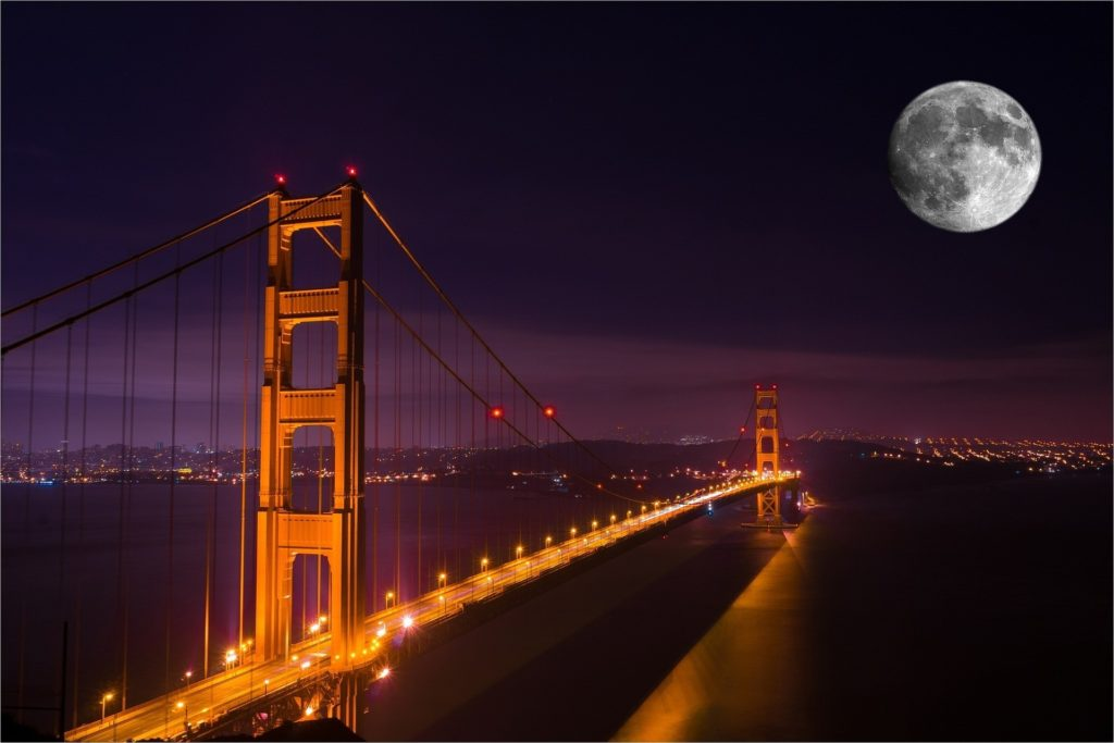 california united states golden gate bridge at night with full moon in sky