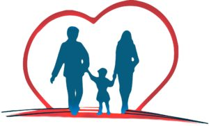 silhouette of man woman child inside a red heart meal plan information