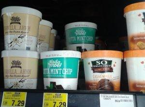 vegan products ice cream nada moo vanilla, mint chip, so delicious chocolate, snickerdoodle